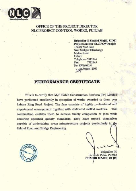 Performance Certificate Letter Performance Certificates And Appreciation Letters Of Hcs
