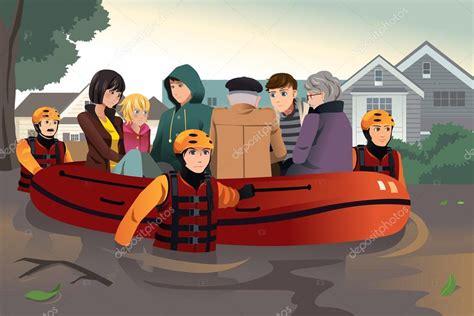imagenes animadas de inundaciones equipo ayudando a la gente durante las inundaciones de