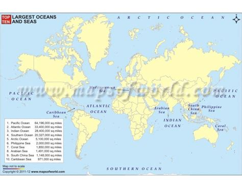 buy top ten largest oceans  seas thematic world map