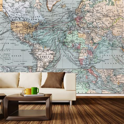 vintage world map wall mural decal 100 quot l x 100 quot w walls