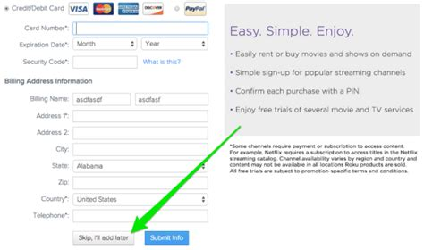 make roku account without credit card bypass roku credit card requirement