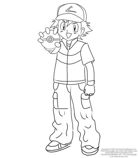 ash in pokemon az coloring pages