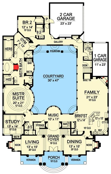plan 36186tx luxury with central courtyard o