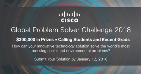 Mba Competitions 2018 by Cisco Global Problem Solver Challenge 2018 For Students