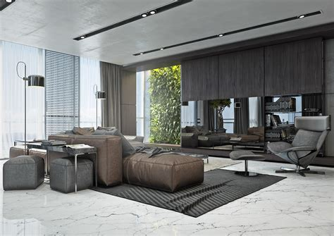 Sleek Modern Living Room Masculine 4 Masculine Apartments With Comfy Sofas And Sleek