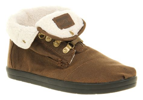 mens fleece lined boots mens toms botas fleece lined fold cuff casual brown chukka