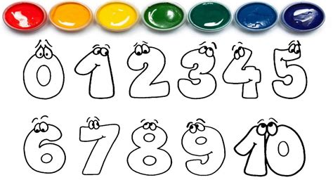 Number Drawing 0 To 9 by Printable Number 0 Coloring Sheet Learning Pages For