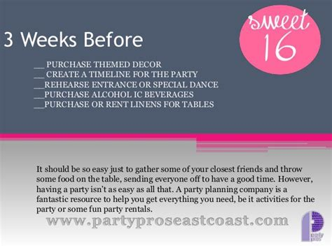 House Planer sweet 16 party planning with checklist