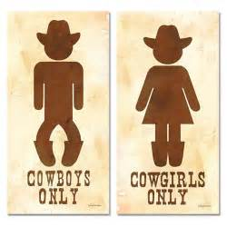 two cowboy and his hers bathroom sign posters 8x16
