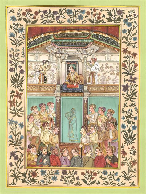 Painting Miniatures by Mughal Empire Miniature Painting Handmade Emperor