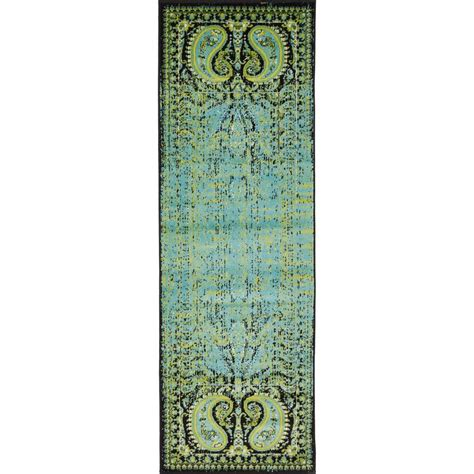 6 foot runner rug unique loom istanbul aquamarine 2 ft x 6 ft runner rug 3134948 the home depot