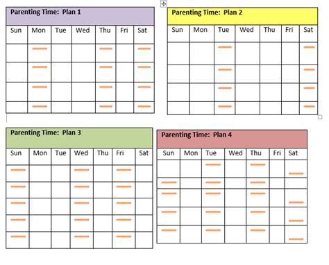 visitation schedule template fee schedule template
