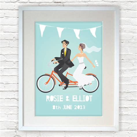 Wedding Gift Print by Personalised Wedding Gift And Groom Print By