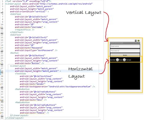 vertical layout xml android linearlayout exle android tutorial blog