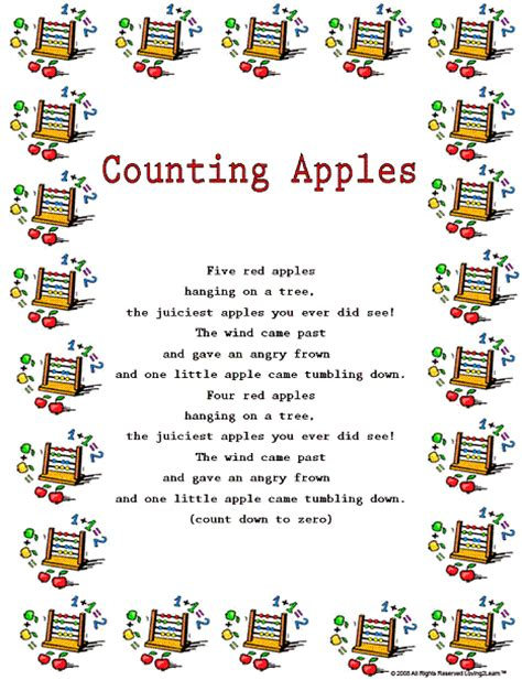 counting song counting rhymes songs printable song and sing along