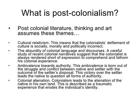 themes postmodernism literature themes in postmodern literature post colonialism intro