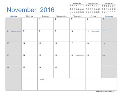 printable monthly calendar november november 2016 calendar printable with holidays yearly