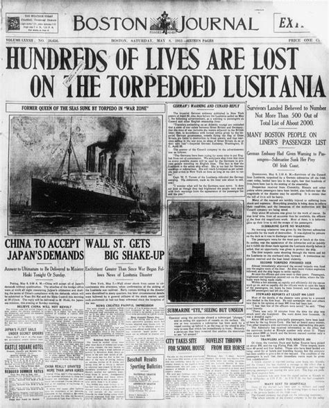 passenger ship sunk by german u boat on may 7 1915 the british passenger ship the lusitania