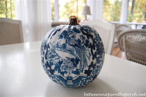 Decoupage Pumpkin - decoupage a pumpkin to coordinate with a room s design or