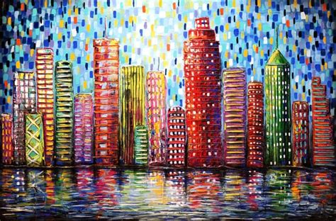 building painting textured urban city buildings painting abstract by