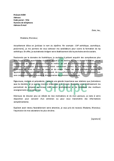 Telecharger Exemple De Lettre De Motivation Pdf Lettre De Motivation Pour Un Bp Esth 233 Tique Pratique Fr