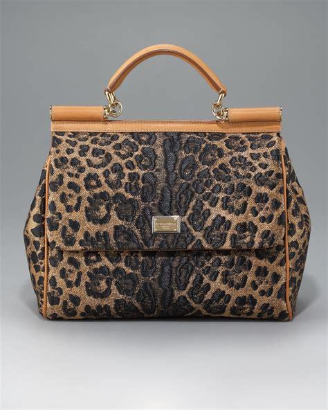Dolce And Gabbana Leopard Print Mini Handbag by Dolce Gabbana Miss Sicily Leopard Print Straw Handbag In