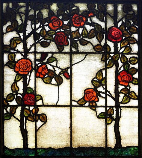 Roses Duvet Cover Red Rose Stained Glass Window Photograph By Sally Rockefeller