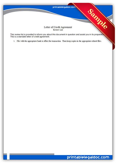 Credit Agreement Template Letter Free Printable Letter Of Credit Agreement Form Generic