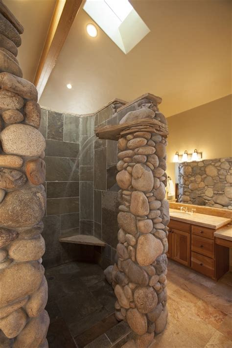 stone bathroom ideas rock waterfall shower google search showers