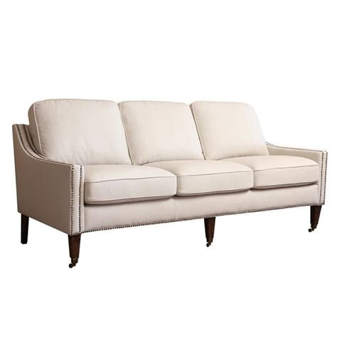 abbyson leather sofa abbyson living monica pedersen faux leather sofa in ivory