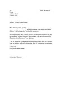 Employment Appointment Letter Format India Offer Letter Format From Employer To Employee Www Imgkid The Image Kid Has It