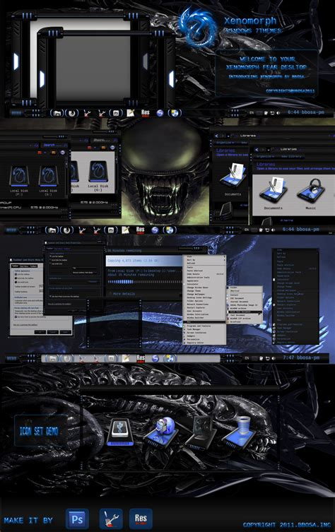 theme maker exe download xenomorph w7 themes by bbosa on deviantart