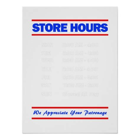 hours sign template free store hours sign print zazzle