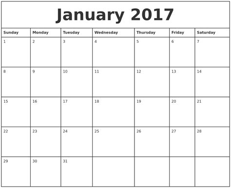 Printable Monthly Calendars January 2017 Printable Monthly Calendar