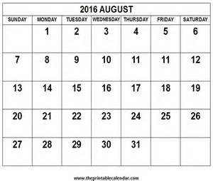 August 2016 calendar calendar template 2016