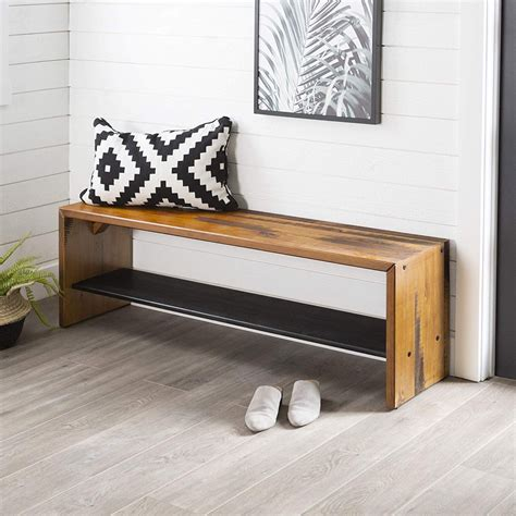 long solid wood entryway bench rustic distressed finish