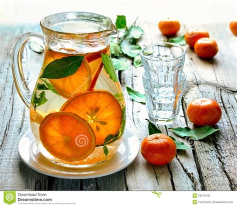 Infused Water Jug citrus infused water stock photo image 53519148