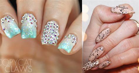 3d Wedding Nails W Swarovski Kuku Palsu Nail Wd0048a swarovski nails
