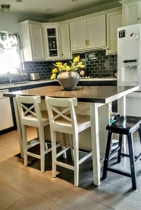 kitchen with stools ikea stenstorp kitchen island hack we added grey quartz