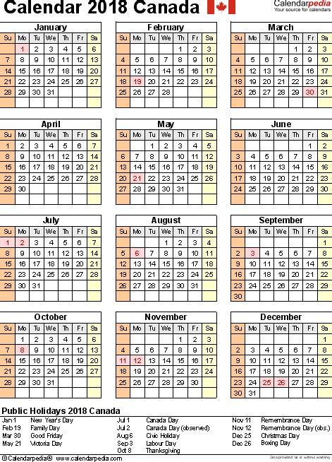 Calendar Canada 2018 2018 Calendar With Holidays Ontario Printable Editable Blank