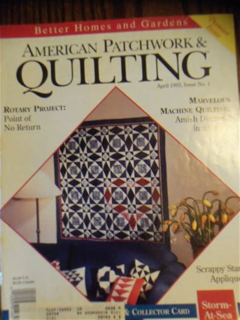 American Patchwork And Quilting Magazine Back Issues - american patchwork quilting april 1993 issue no 1 back