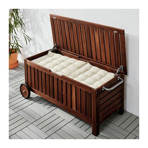 outdoor storage bench ikea 196 pplar 214 storage bench outdoor brown stained 128x57 cm ikea