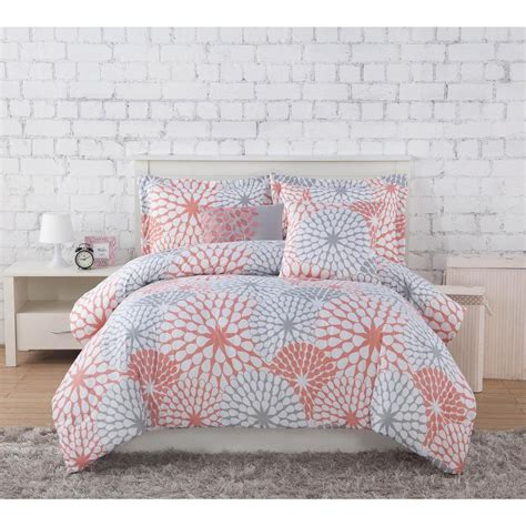 coral and gray bedding project generation stella coral grey 4 piece twin xl