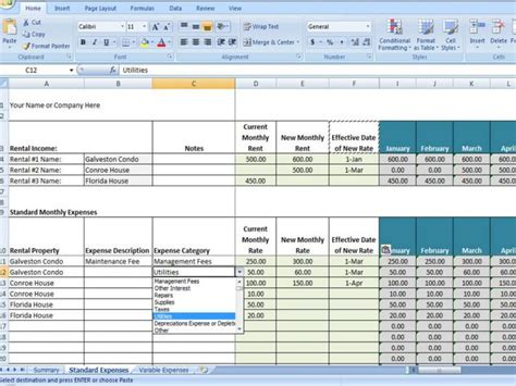 property management spreadsheet excel template for