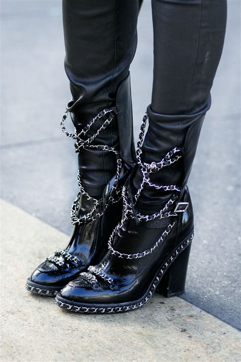rock and roll boots for heavy chains on these chanel fall 2013 boots were so rock
