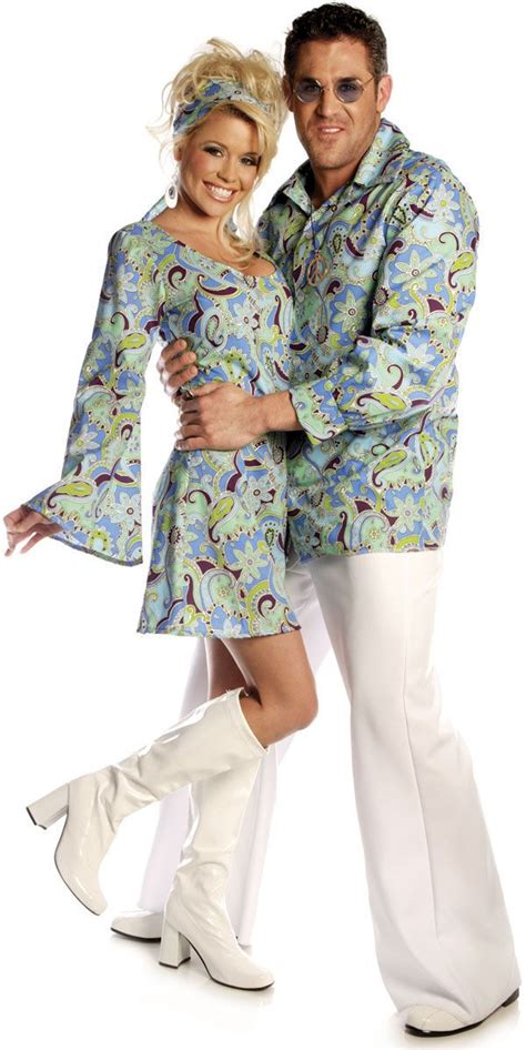 main adults costumes disco costumes for couple groovy blue shirt disco costume 70 s inspiration pinterest