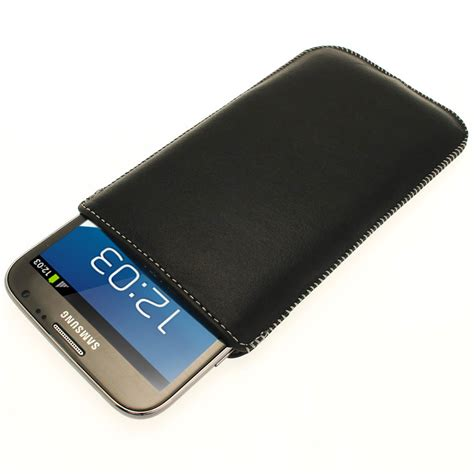 Samsung Tab Note 2 igadgitz black genuine leather pouch with elasticated pull tab for samsung galaxy note 2 ii
