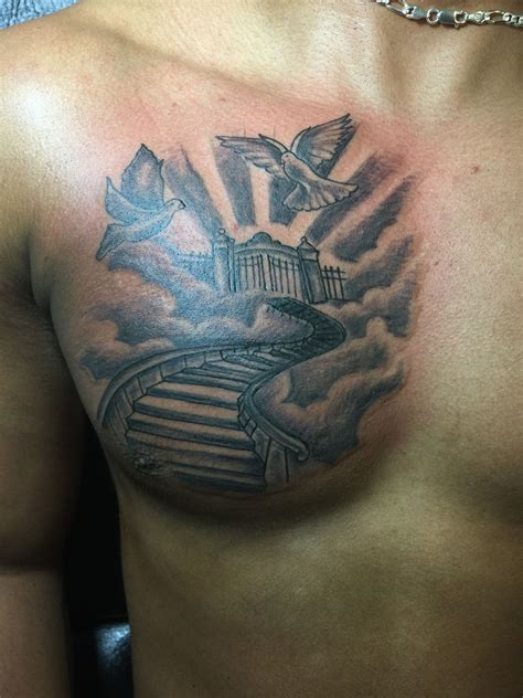 stairway  heaven chest tattoo tattoos pinterest