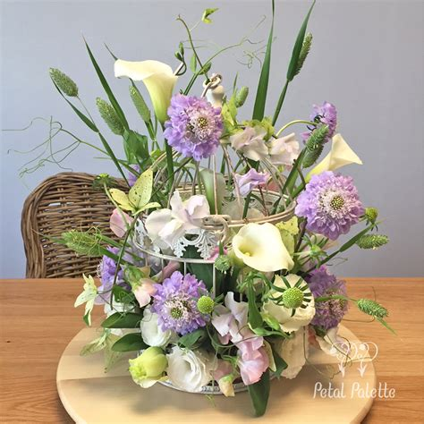 birdcage floral centerpiece baby s birthday flower petal palette seoul florist
