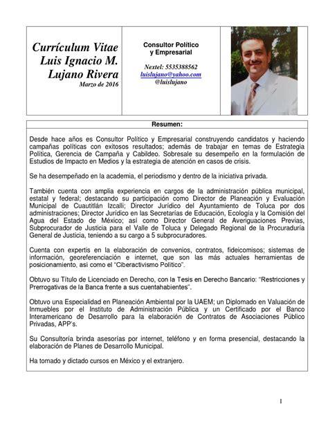 Modelo Curriculum Politico Luis Ignacio Lujano Rivera Curr 237 Culum Vitae Mzo 2016 Formato Buap By Luis Ignacio Lujano Rivera
